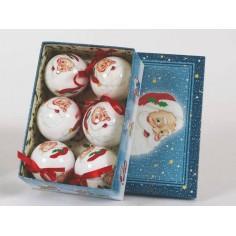 Set 6 palline in cartapesta ø 7,5 cm con Babbo Natale