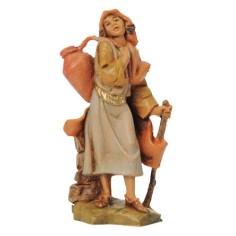 Donna con anfora a spalle e bastone 6,5 cm Fontanini Mondo