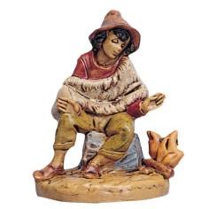 Ragazzo seduto al fuoco 6,5 cm Fontani Mondo Presepi