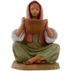Donna seduta con cesto serie 12 cm Fontanini