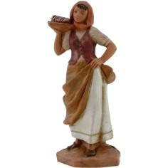Donna con cesto di pane 12 cm Fontanini