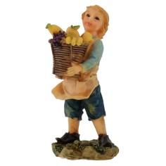 Bambino con cesto di frutta in resina 12 cm
