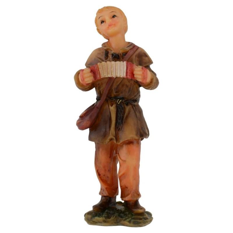 Fanciullo con fisarmonica in resina serie 12 cm