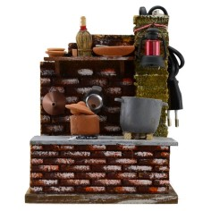 Kitchen with boiling pot and fire for nativity scene cm