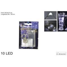 10 Micro Led luce bianca fredda a batterie