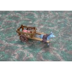 Mondo Presepi Carro in legno con maialini