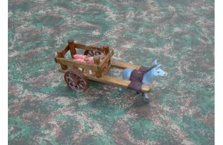 Wooden wagon with pigs