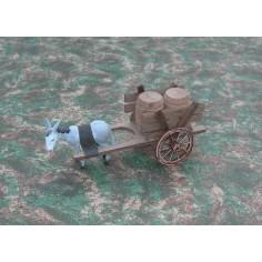 Mondo Presepi Carro con botti - asino al traino