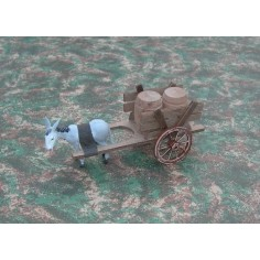 Wagon with barrels - donkey being towed