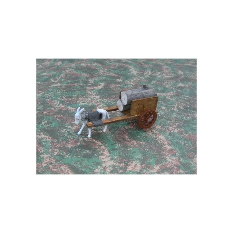 Carro piccolo in legna con asino al traino Mondo Presepi