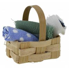 Basket with assorted cloth cm 2,5x1, 5x2, 8 h