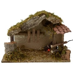 Hut for presepe with fire cm 35x15x23, 5 h