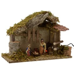 Hut for presepe with Nativity and fire cm 35x15x23, 5 h