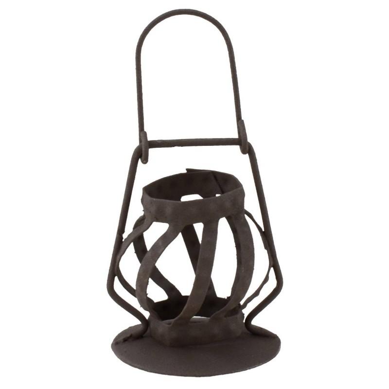 Lanterna in metallo invecchiato per statue 30 cm