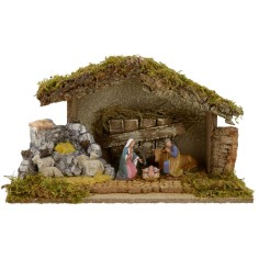 Hut for presepe with Nativity cm 40x23x23 h