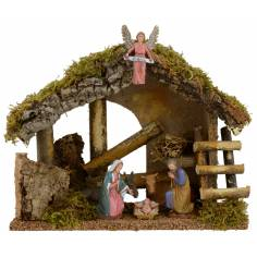 Hut for presepe with Nativity cm 29x15x23, 5 h