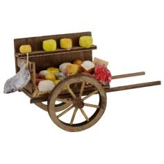 Carretto formaggi e salumi per presepe cm 7x14x8,3 h