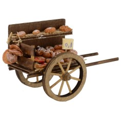 Cart with bread for presepe cm 7x14x8, 3 h