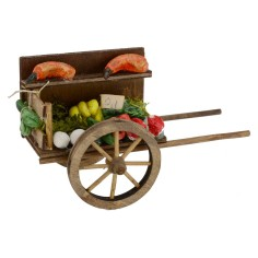 Cart with fruit and vegetables for presepe cm 7x14x8, 3 h