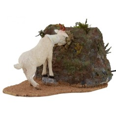 Capra bianca che mangia serie 30 cm in movimento per statue di