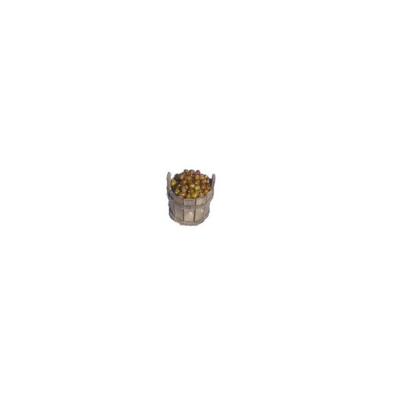 Mondo Presepi Tinozza in legno cm 4 con olive - OV04