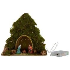 Albero con capanna e Natività illuminati con led a pile cm