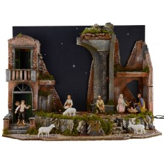 Full presepe of Landi statues with stellate sky illuminated by