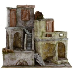 Borgo with houses cm 40x22x37 h for statues from 10 cm