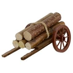 Carro con legna accatastata cm 13x7x6,5 h