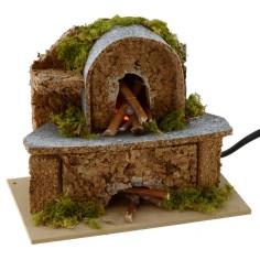 Forno a legna con lampada effetto fuoco funzionante per presepe