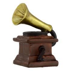Grammofono antico a manovella in resina 3,5x3,5x7 h cm