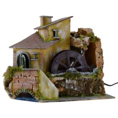 House with a working water mill cm 28x20, 5x24 h