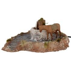 Macina in resina con cavallo in movimento 20x22,5x9 h cm