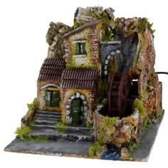 Serie di case con mulino ad acqua funzionante cm 19x20x18,5 h
