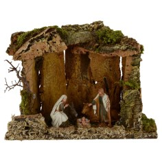 Cave for Presepe cm 33x18x26 h complete with Nativity Landi