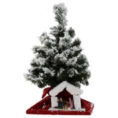 Albero di Natale innevato 43 cm con Natività e luci a led a