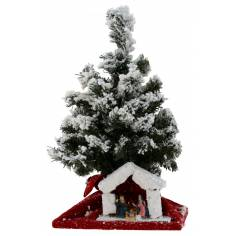 Christmas tree grafted 43 cm with Nativity and battery-led