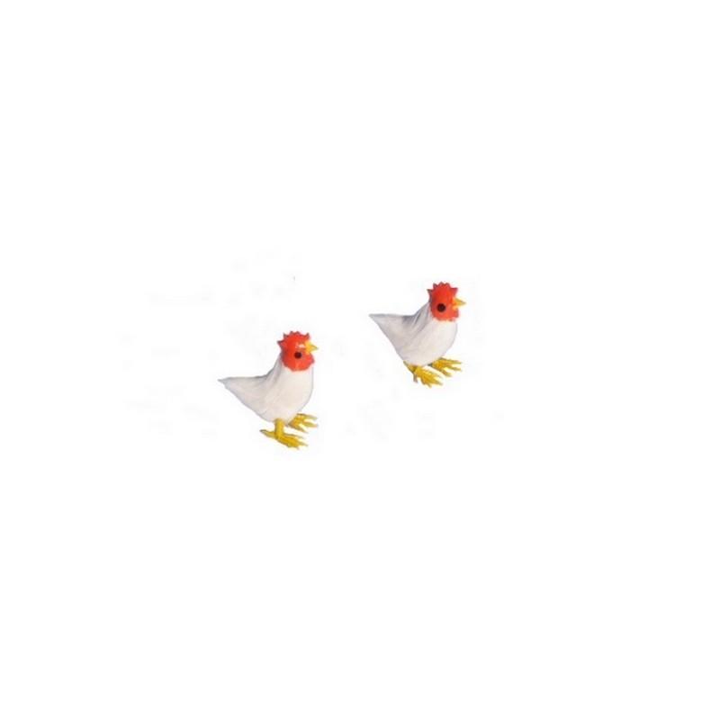 Set 2 galline bianche con piume - 4422 Mondo Presepi