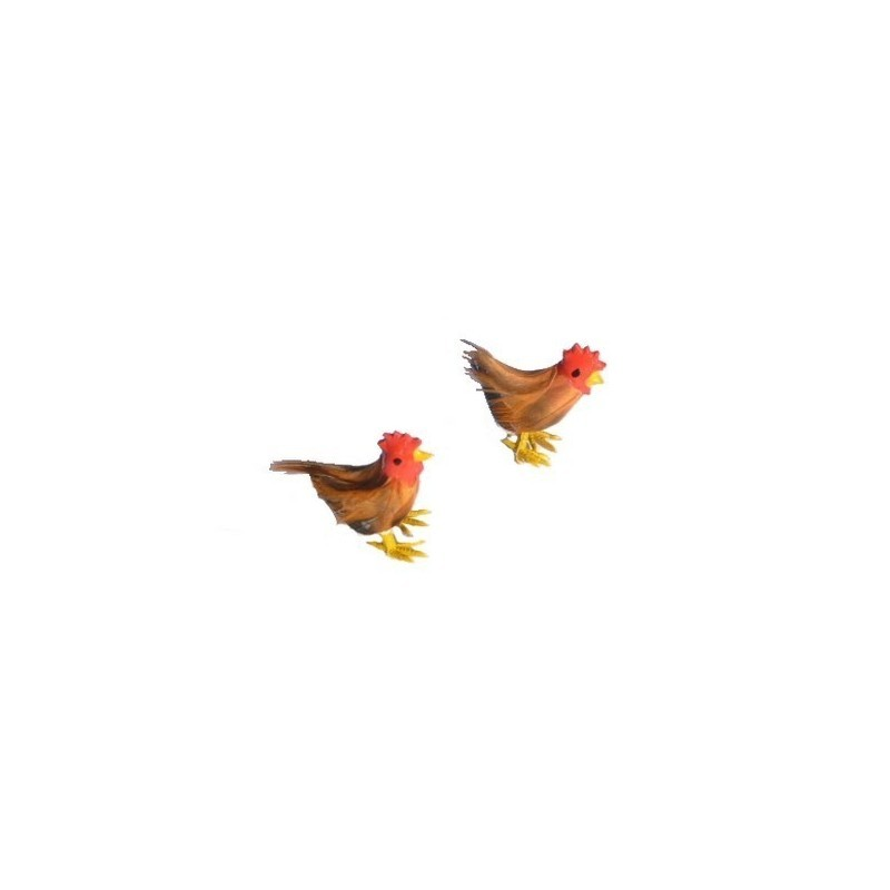 Set of 2 feathered hens - 4465