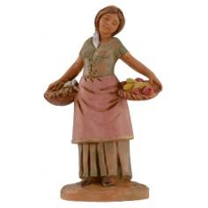 Donna con cesti di frutta e verdura 12 cm Fontanini
