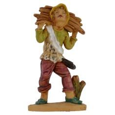 Boscaiolo con fascina di legna a spalle lux 12 cm in pvc