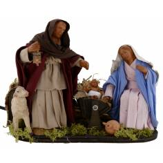 Nativity in motion with functioning lantern 15 cm