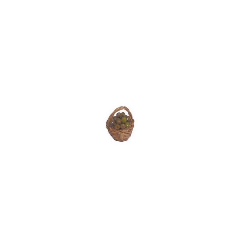 Mondo Presepi Cesto Ø 2,2 in vimini con olive - CV11