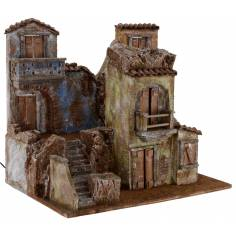 Borgo illuminated with houses cm 50x35x42 h for statues from 10 cm