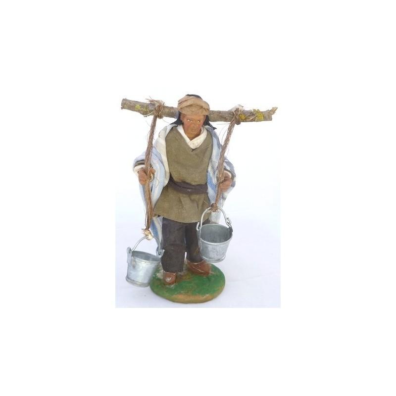Mondo Presepi Uomo con secchi sulle spalle Lux cm 12 - 41236
