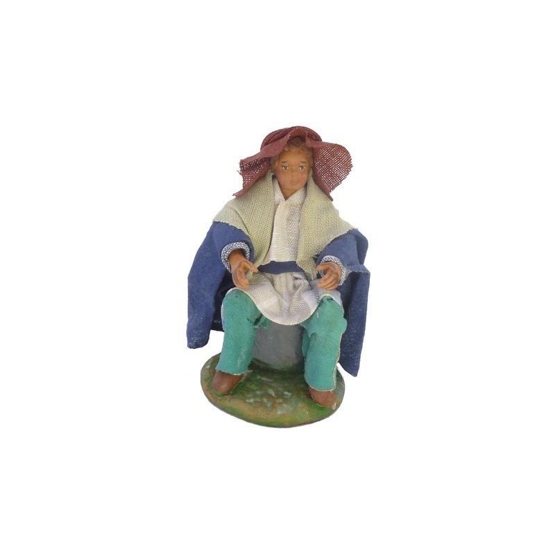 Mondo Presepi Uomo seduto Lux cm 12 - 41239