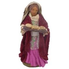 Mondo Presepi Donna con cesto di pane Lux cm 12 - 41240