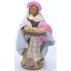 Donna con cesto di pane Lux cm 12 - 41240