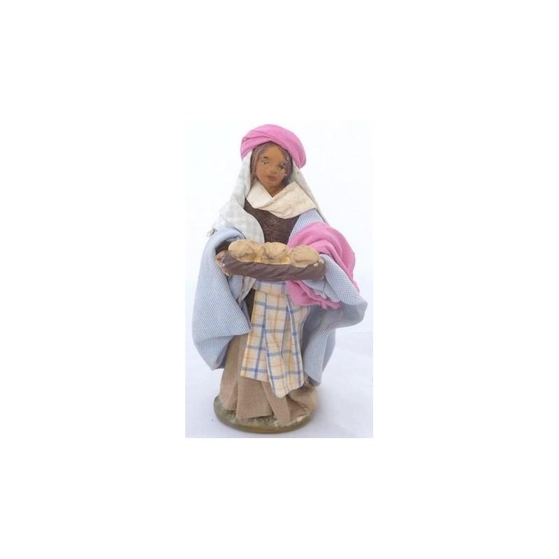 Mondo Presepi Donna con cesto di pane Lux cm 12 - 41241