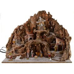 Full presepe of statues Landi cm 65x45x53 h with fountain